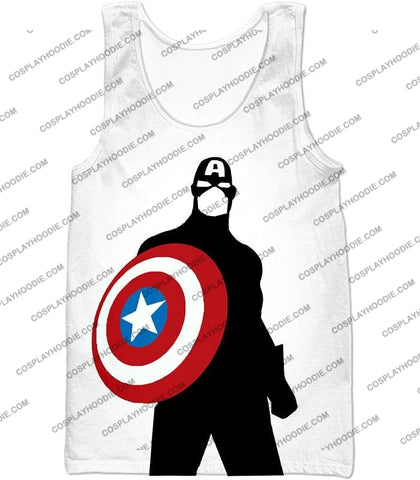 Image of Cool Marvel Hero Captain America Silhouette Promo White T-Shirt Ca023 Tank Top / Us Xxs (Asian Xs)