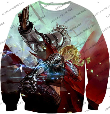 Image of Fullmetal Alchemist Ultimate Anime Brothers Edward X Alphonse Cool Action T-Shirt Fa023 Sweatshirt /