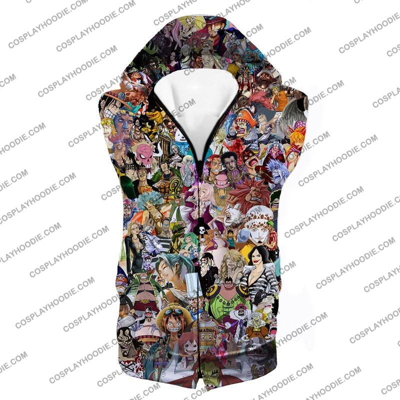 One Piece Awesome Anime All In Characters T-Shirt Op023 Hooded Tank Top / Us Xxs (Asian Xs)