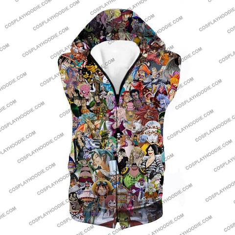 Image of One Piece Awesome Anime All In Characters T-Shirt Op023 Hooded Tank Top / Us Xxs (Asian Xs)