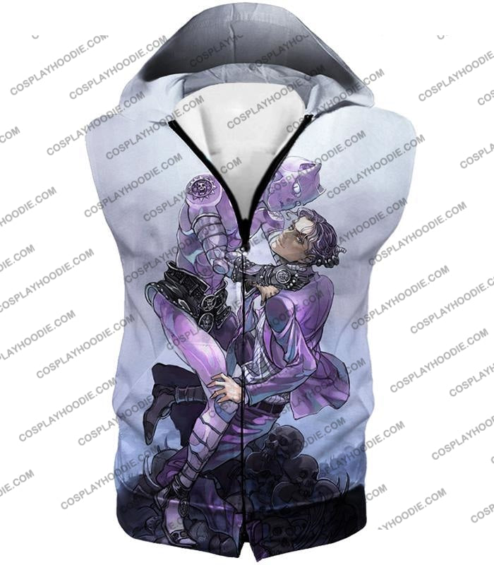 Jojos Adventure C Killer Queen Graphic White T-Shirt Jo023 Hooded Tank Top / Us Xxs (Asian Xs)