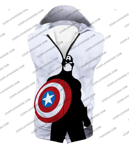 Image of Cool Marvel Hero Captain America Silhouette Promo White T-Shirt Ca023 Hooded Tank Top / Us Xxs