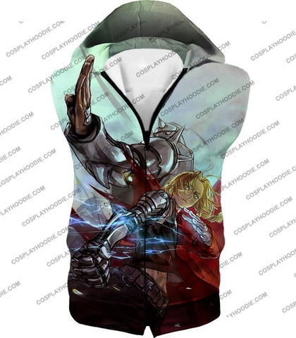 Image of Fullmetal Alchemist Ultimate Anime Brothers Edward X Alphonse Cool Action T-Shirt Fa023 Hooded Tank