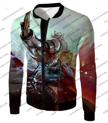 Image of Fullmetal Alchemist Ultimate Anime Brothers Edward X Alphonse Cool Action T-Shirt Fa023 Jacket / Us
