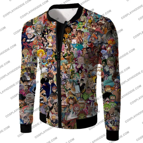 Image of One Piece Awesome Anime All In Characters T-Shirt Op023 Jacket / Us Xxs (Asian Xs)