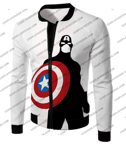 Image of Cool Marvel Hero Captain America Silhouette Promo White T-Shirt Ca023 Jacket / Us Xxs (Asian Xs)