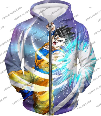 Image of Dragon Ball Super Awesome Saiyan Hero Gohan Cool Anime Action T-Shirt Dbs230 Zip Up Hoodie / Us Xxs