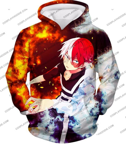Image of My Hero Academia Super Cool Anime Shoto Todoroki Quirk Half Cold Hot Action T-Shirt Mha074 Hoodie /