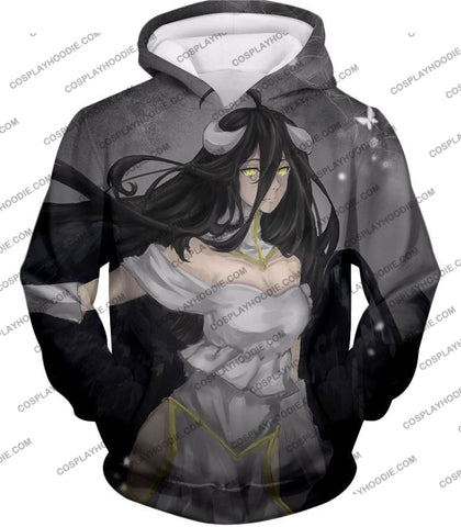 Image of Overlord Beautiful Succubus The Pure White Devil Albedo Awesome Anime T-Shirt Ol024 Hoodie / Us Xxs
