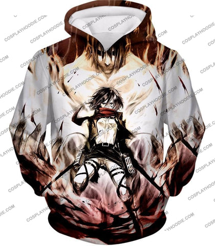 Image of Attack On Titan Amazing Fighter Mikasa Ackerman Cool Anime Graphic\ T-Shirt Aot074 Hoodie / Us Xxs