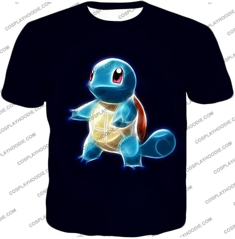 Image of Pokemon Water Type Squirtle Cool Artwork Black T-Shirt Pkm174 / Us Xxs (Asian Xs)