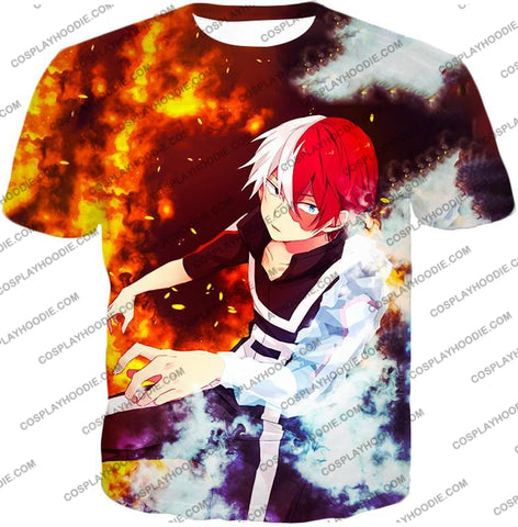 Image of My Hero Academia Super Cool Anime Shoto Todoroki Quirk Half Cold Hot Action T-Shirt Mha074 / Us Xxs