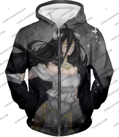 Image of Overlord Beautiful Succubus The Pure White Devil Albedo Awesome Anime T-Shirt Ol024 Zip Up Hoodie /