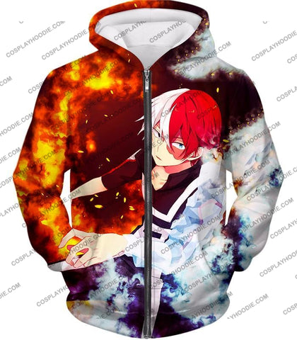 Image of My Hero Academia Super Cool Anime Shoto Todoroki Quirk Half Cold Hot Action T-Shirt Mha074 Zip Up