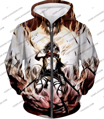 Image of Attack On Titan Amazing Fighter Mikasa Ackerman Cool Anime Graphic\ T-Shirt Aot074 Zip Up Hoodie /
