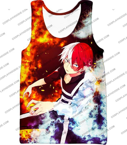 Image of My Hero Academia Super Cool Anime Shoto Todoroki Quirk Half Cold Hot Action T-Shirt Mha074 Tank Top