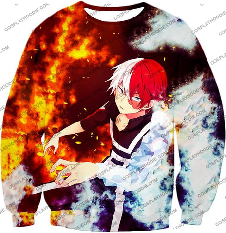 Image of My Hero Academia Super Cool Anime Shoto Todoroki Quirk Half Cold Hot Action T-Shirt Mha074