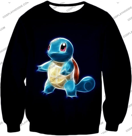 Image of Pokemon Water Type Squirtle Cool Artwork Black T-Shirt Pkm174 Sweatshirt / Us Xxs (Asian Xs)