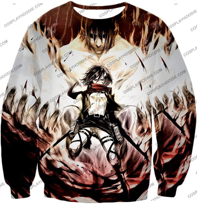 Attack On Titan Amazing Fighter Mikasa Ackerman Cool Anime Graphic\ T-Shirt Aot074 Sweatshirt / Us