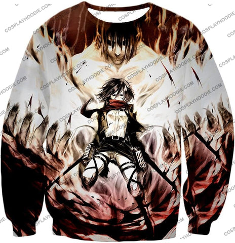 Image of Attack On Titan Amazing Fighter Mikasa Ackerman Cool Anime Graphic\ T-Shirt Aot074 Sweatshirt / Us