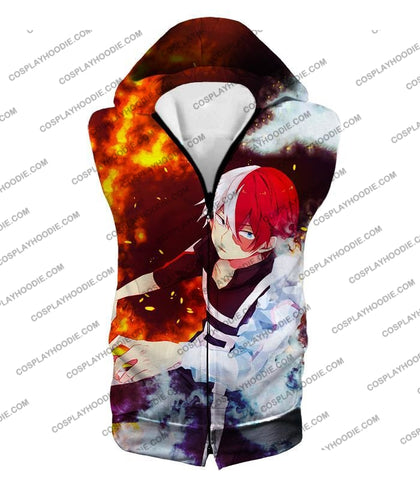 Image of My Hero Academia Super Cool Anime Shoto Todoroki Quirk Half Cold Hot Action T-Shirt Mha074 Hooded