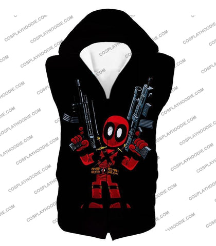 Image of Funny Mercenary Deadpool Comic Action Figure Black T-Shirt Dp024 Hooded Tank Top / Us Xxs (Asian Xs)