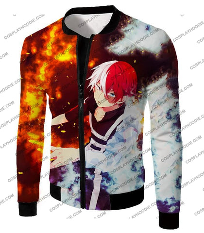 Image of My Hero Academia Super Cool Anime Shoto Todoroki Quirk Half Cold Hot Action T-Shirt Mha074 Jacket /
