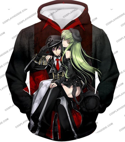 Image of Best Anime Couple Lelouch X C.c. Cool Black T-Shirt Cg025 Hoodie / Us Xxs (Asian Xs)