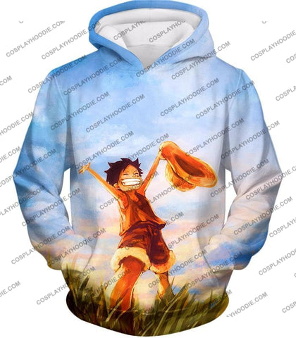 Image of One Piece Super Cool Pirate Kid Luffy Blue T-Shirt Op025 Hoodie / Us Xxs (Asian Xs)