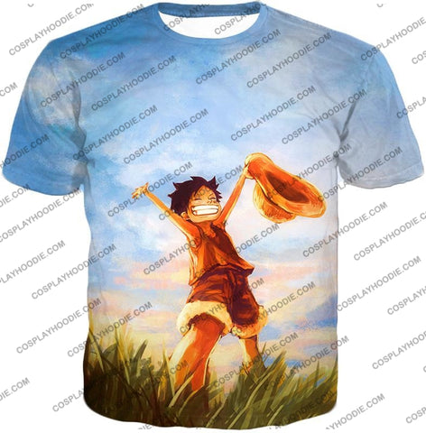 Image of One Piece Super Cool Pirate Kid Luffy Blue T-Shirt Op025 / Us Xxs (Asian Xs)