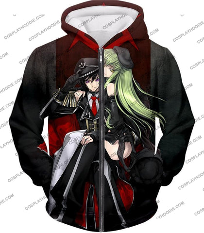 Image of Best Anime Couple Lelouch X C.c. Cool Black T-Shirt Cg025 Zip Up Hoodie / Us Xxs (Asian Xs)