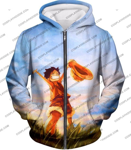 Image of One Piece Super Cool Pirate Kid Luffy Blue T-Shirt Op025 Zip Up Hoodie / Us Xxs (Asian Xs)