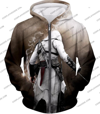 Image of Assassins Legend Altair Ibn-Laahad Cool Action Promo T-Shirt Ac025 Zip Up Hoodie / Us Xxs (Asian Xs)