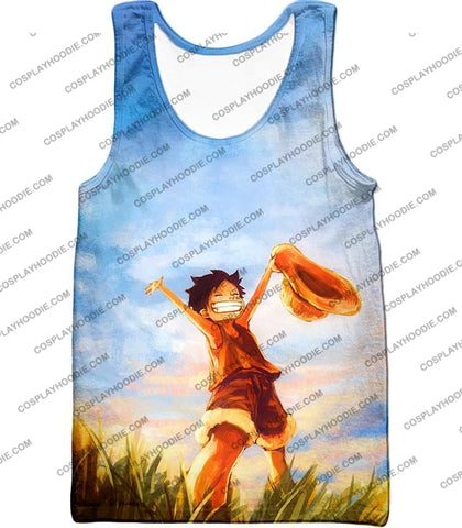 Image of One Piece Super Cool Pirate Kid Luffy Blue T-Shirt Op025 Tank Top / Us Xxs (Asian Xs)
