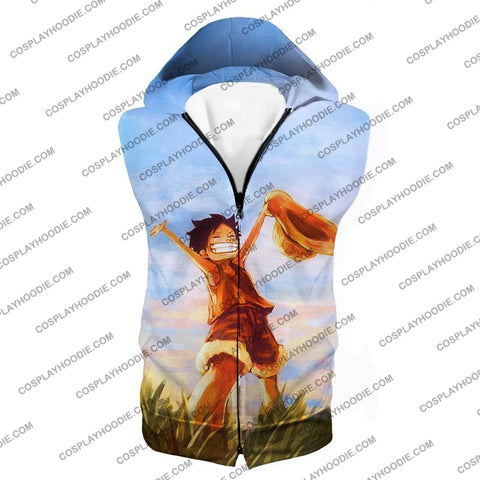 Image of One Piece Super Cool Pirate Kid Luffy Blue T-Shirt Op025 Hooded Tank Top / Us Xxs (Asian Xs)