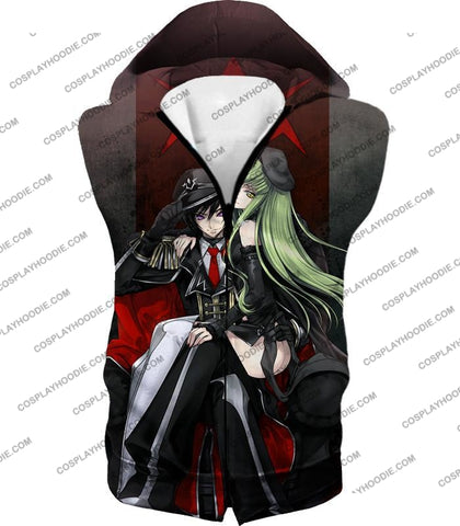 Image of Best Anime Couple Lelouch X C.c. Cool Black T-Shirt Cg025 Hooded Tank Top / Us Xxs (Asian Xs)