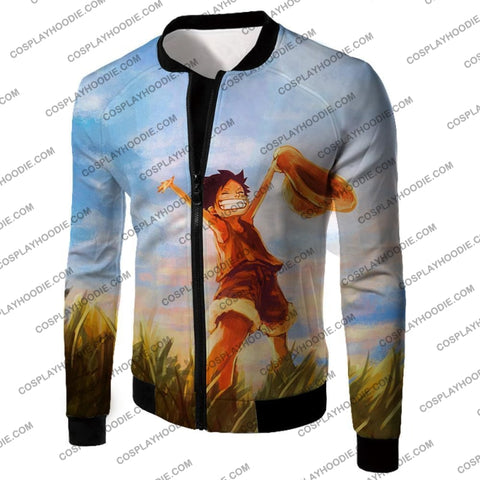 Image of One Piece Super Cool Pirate Kid Luffy Blue T-Shirt Op025 Jacket / Us Xxs (Asian Xs)