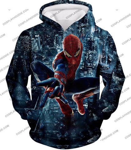 Image of Marvel Hero Web Shooting Spiderman Awesome Action T-Shirt Sp026 Hoodie / Us Xxs (Asian Xs)