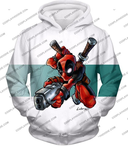 Image of Marvel Comics Anti-Hero Deadpool Action White T-Shirt Dp026 Hoodie / Us Xxs (Asian Xs)