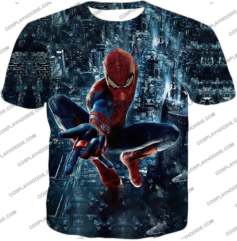 Image of Marvel Hero Web Shooting Spiderman Awesome Action T-Shirt Sp026 / Us Xxs (Asian Xs)