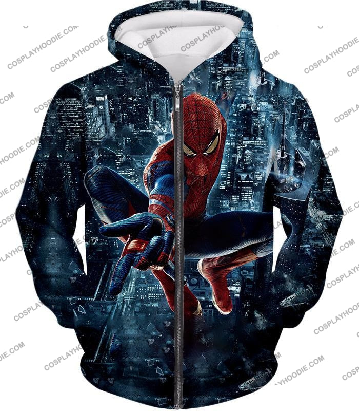 Marvel Hero Web Shooting Spiderman Awesome Action T-Shirt Sp026 Zip Up Hoodie / Us Xxs (Asian Xs)