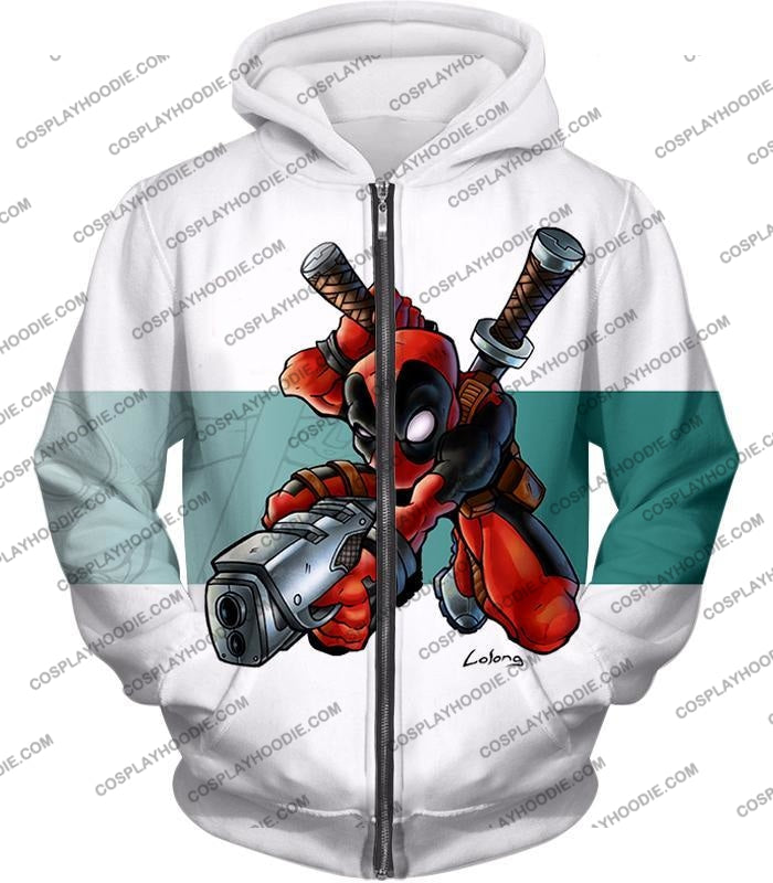 Marvel Comics Anti-Hero Deadpool Action White T-Shirt Dp026 Zip Up Hoodie / Us Xxs (Asian Xs)