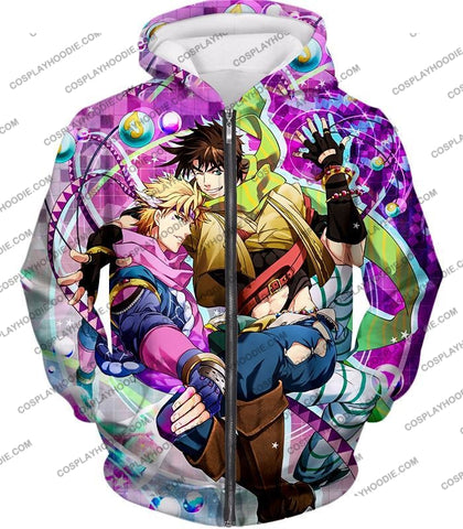 Image of Jojos Battle Tendency C Joseph Joestar And Caesar Zeppeli Anime T-Shirt Jo026 Zip Up Hoodie / Us Xxs