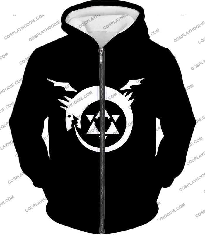 Fullmetal Alchemist Super Cool Homunculi Symbol Awesome Black T-Shirt Fa026 Zip Up Hoodie / Us Xxs