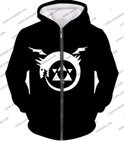 Image of Fullmetal Alchemist Super Cool Homunculi Symbol Awesome Black T-Shirt Fa026 Zip Up Hoodie / Us Xxs
