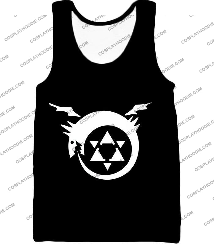 Fullmetal Alchemist Super Cool Homunculi Symbol Awesome Black T-Shirt Fa026 Tank Top / Us Xxs (Asian
