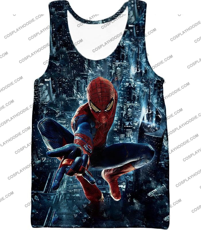 Marvel Hero Web Shooting Spiderman Awesome Action T-Shirt Sp026 Tank Top / Us Xxs (Asian Xs)