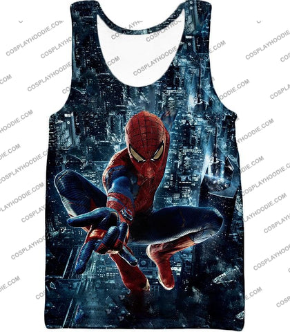 Image of Marvel Hero Web Shooting Spiderman Awesome Action T-Shirt Sp026 Tank Top / Us Xxs (Asian Xs)