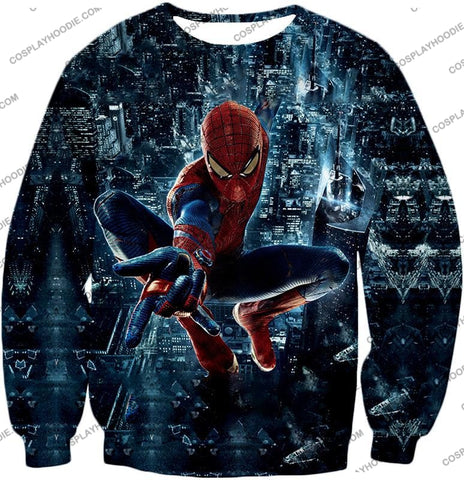 Image of Marvel Hero Web Shooting Spiderman Awesome Action T-Shirt Sp026 Sweatshirt / Us Xxs (Asian Xs)