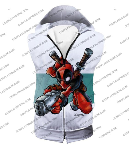 Image of Marvel Comics Anti-Hero Deadpool Action White T-Shirt Dp026 Hooded Tank Top / Us Xxs (Asian Xs)